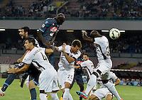 Gol  Kalidou Koulibaly  durante l'incontro  di calco d Seriden A  tra SSC Napoli e US Palermo    allo stadio San Paolo di Napoli , 24 Settembre  2014