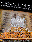 """St. Peter's fountain in front of sign """"Verbum Domini"""""""