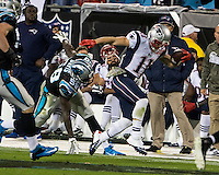 The Carolina Panthers play the New England Patriots at Bank of America Stadium in Charlotte North Carolina on Monday Night Football.  The Panthers defeated the Patriots 24-20.  New England Patriots wide receiver Julian Edelman (11), Carolina Panthers outside linebacker Thomas Davis (58)