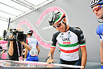 Italian National Champion Fabio Aru (ITA) UAE Team Emirates at sign on before the start of Stage 8 of the 2018 Giro d'Italia, running 209km from Praia a Mare to Montevergine di Mercogliano, Italy. 12th May 2018.<br /> Picture: LaPresse/Gian Mattia D'Alberto | Cyclefile<br /> <br /> <br /> All photos usage must carry mandatory copyright credit (&copy; Cyclefile | LaPresse/Gian Mattia D'Alberto)