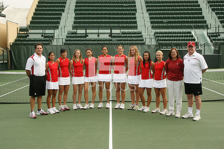 STANFORD, CA - NOVEMBER 11:  Frankie Brennan Jr., Hilary Barte, Jennifer Yen, Carolyn McVeigh, Veronica Li, Isamarie Perez, Lindsay Burdette, Logan Hansen, Jessica Nguyen, Courtney Clayton, Lele Forood and Frank Brennan of the Stanford Cardinal take the team photo during picture day on November 11, 2008 at the Taube Family Tennis Stadium in Stanford, California.