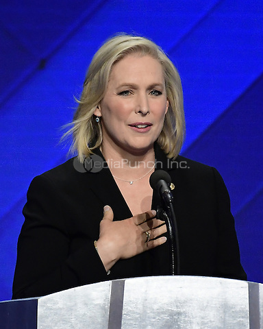 United States Senator Kirsten Gillibrand (Democrat of New York) makes remarks during a presentation by the Democratic Women of the US Senate on the fourth session of the 2016 Democratic National Convention at the Wells Fargo Center in Philadelphia, Pennsylvania on Thursday, July 28, 2016.<br /> Credit: Ron Sachs / CNP/MediaPunch<br /> (RESTRICTION: NO New York or New Jersey Newspapers or newspapers within a 75 mile radius of New York City)