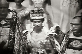 ENGLAND, London, photograph of a young Queen Elizabeth II (B&W)