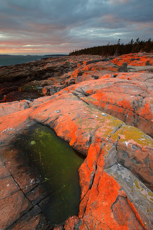 Fiery summer sunset illuminates the granite rocks at Schoodic Point in Acadia National Park, Maine, USA