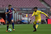 1st October 2017, Camp Nou, Barcelona, Spain; La Liga football, Barcelona versus Las Palmas; Sergi Roberto of FC Barcelona fights the ball