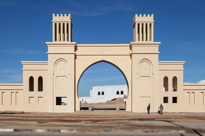 "Sharm el Sheikh, Sinai, January 2015. The ""biggest gate"" in Sharm, entrance of the Kazar hotel in construction. It is one out of 230 hotels in Sharm. In this area, where are concentrated the most luxurious hotels of Sharm, tourism real estate is still expanding, despite a high number of unoccupied hotels."