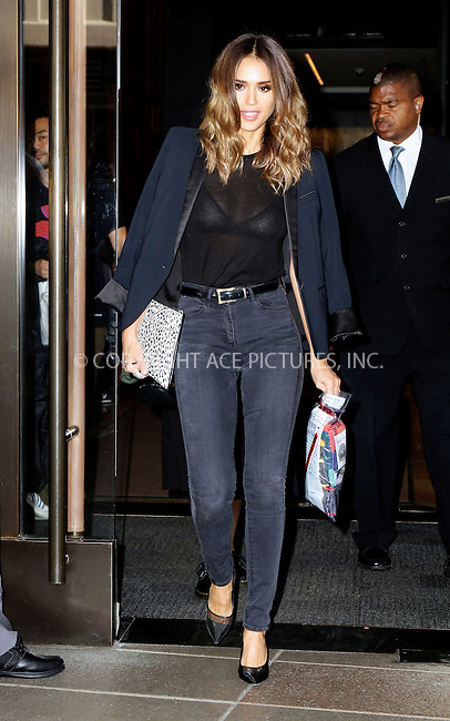 ACEPIXS.COM<br /> <br /> August 13 2014, New York City<br /> <br /> Actress Jessica Alba leaves her downtown hotel on August 13 2014 in New York City<br /> <br /> <br /> By Line: Nancy Rivera/ACE Pictures<br /> <br /> ACE Pictures, Inc.<br /> www.acepixs.com<br /> Email: info@acepixs.com<br /> Tel: 646 769 0430