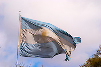 The flag of Argentina, blue stripes white stripe and a golden sun in the middle Buenos Aires Argentina, South America