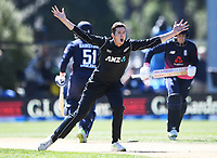 Mitchell Santner appeals unsuccessfully.<br /> New Zealand Black Caps v England, ODI series, University Oval in Dunedin, New Zealand. Wednesday 7 March 2018. &copy; Copyright Photo: Andrew Cornaga / www.Photosport.nz