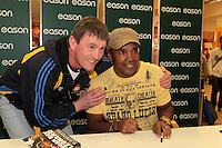 NO FEE PICTURES.16/3/12 Dermot Coughlan, Clare, pictured today with Sugar Ray Leonard , one of the greatest fighters of the last fifty years will be in Eason, O.Connell Street signing copies of his new autobiography , .The Big Fight..  Leonard.s book is unflinchingly honest which reveals the true story of an Olympic hero and world champion.  He tells of the gruelling workouts, the fierce competition, and the notorious corruption he encountered within the sport as he battled to become a champion.  Picture:Arthur Carron/Collins