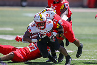 College Park, MD - April 27, 2019:  Maryland Terrapins defensive back Raymond Boone (21) tackles Maryland Terrapins running back Tayon Fleet-Davis (8) during the spring game at  Capital One Field at Maryland Stadium in College Park, MD.  (Photo by Elliott Brown/Media Images International)