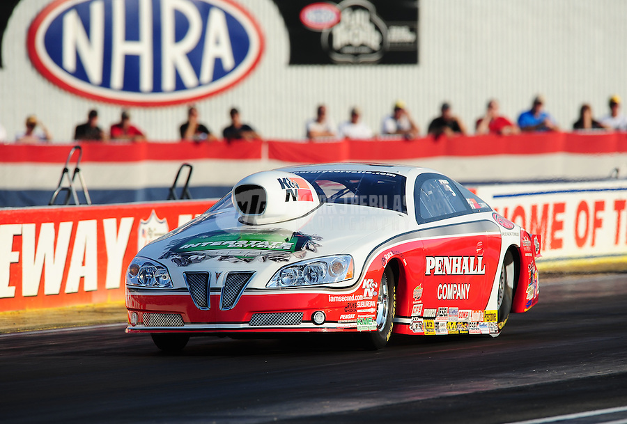 Sept. 2, 2011; Claremont, IN, USA: NHRA pro stock driver Mike Edwards during qualifying for the US Nationals at Lucas Oil Raceway. Mandatory Credit: Mark J. Rebilas-