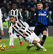 9th December 2017, Allianz Stadium, Turin, Italy; Serie A football, Juventus versus Inter Milan; Medhi Benatia challenges Mauro Icardi  as he shoots at goal