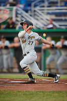 West Virginia Black Bears center fielder Daniel Amaral (27) follows through on a swing during a game against the Batavia Muckdogs on June 18, 2018 at Dwyer Stadium in Batavia, New York.  Batavia defeated West Virginia 9-6.  (Mike Janes/Four Seam Images)