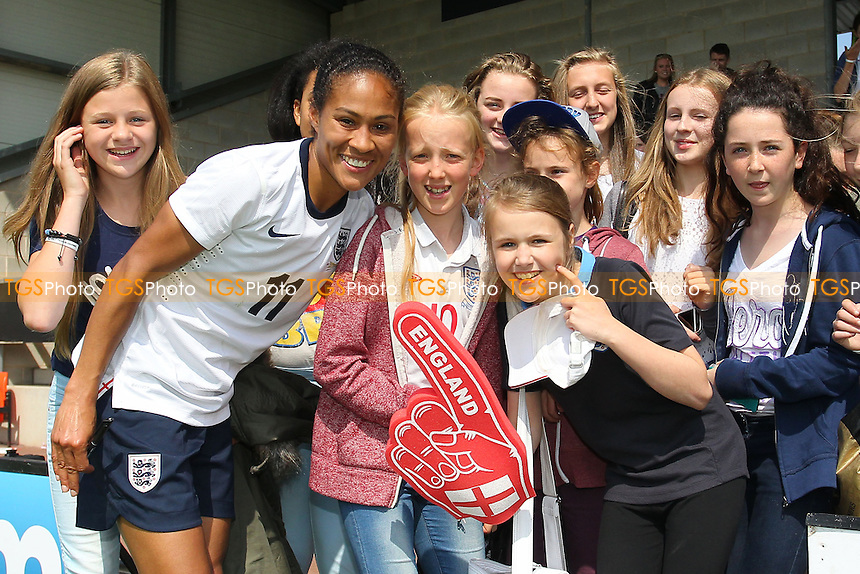 Rachel Yankey with the fans after winning her record 126th cap for England - England Women vs Japan Women - Friendly Football International at the Pirelli Stadium, Burton Albion FC - 26/06/13 - MANDATORY CREDIT: Gavin Ellis/TGSPHOTO - Self billing applies where appropriate - 0845 094 6026 - contact@tgsphoto.co.uk - NO UNPAID USE