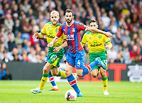Crystal Palace Luka Milivojevic and Norwich City Teemu Pukki during the Premier League match between Crystal Palace and Norwich City at Selhurst Park, London, England on 28 September 2019. Photo by Andrew Aleksiejczuk / PRiME Media Images.