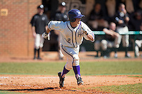 Hunter Lee (2) of the High Point Panthers hustles down the first base line against the LIU-Brooklyn Blackbirds at Willard Stadium on March 8, 2015 in High Point, North Carolina.  The Panthers defeated the Blackbirds 9-0.  (Brian Westerholt/Four Seam Images)