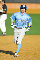 Mike Zolk (3) of the North Carolina Tar Heels rounds the bases after hitting a home run against the Wake Forest Demon Deacons at Wake Forest Baseball Park on March 9, 2013 in Winston-Salem, North Carolina.  The Tar Heels defeated the Demon Deacons 20-6.  (Brian Westerholt/Four Seam Images)