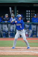 Mike Caputo (4) of the Seton Hall Pirates at bat against the Virginia Cavaliers at The Ripken Experience on February 28, 2015 in Myrtle Beach, South Carolina.  The Cavaliers defeated the Pirates 4-1.  (Brian Westerholt/Four Seam Images)