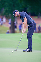 Dustin Johnson (USA) watches his birdie putt fall on 10 during Sunday's final round of the PGA Championship at the Quail Hollow Club in Charlotte, North Carolina. 8/13/2017.<br /> Picture: Golffile | Ken Murray<br /> <br /> <br /> All photo usage must carry mandatory copyright credit (&copy; Golffile | Ken Murray)
