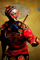 A male actor in traditional costume and make-up portrays the character of the monkey King Wu Kong in the Chinese opera 'Journey to the West.'. Beijing, China.