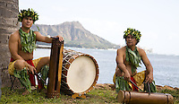 Polynesian percussionists at Magic Island with Diamond Head in the background