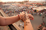 Womans hand with Henna Tattoo, Djemaa el-Fna, main square, Marrakesh, Morocco, market