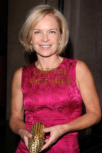 MARIELLA FROSTRUP.At the Sony Radio Academy Awards, Grosvenor House Hotel, Park Lane, London, England, UK, May 10th 2010..half length pink sleeveless silk satin brocade patterned pattern dress shift gold clutch bag smiling make-up .CAP/AH.©Adam Houghton/Capital Pictures.