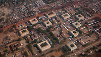 Aerial view of the new ministry buildings for the South Sudanese government in Juba. Central Equatoria, South Sudan.