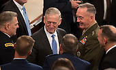 United States Secretary of Defense James Mattis speaks to members of the military before U.S. President Donald J. Trump addresses a joint session of Congress on Capitol Hill in Washington, DC, February 28, 2017. <br /> Credit: Chris Kleponis / CNP