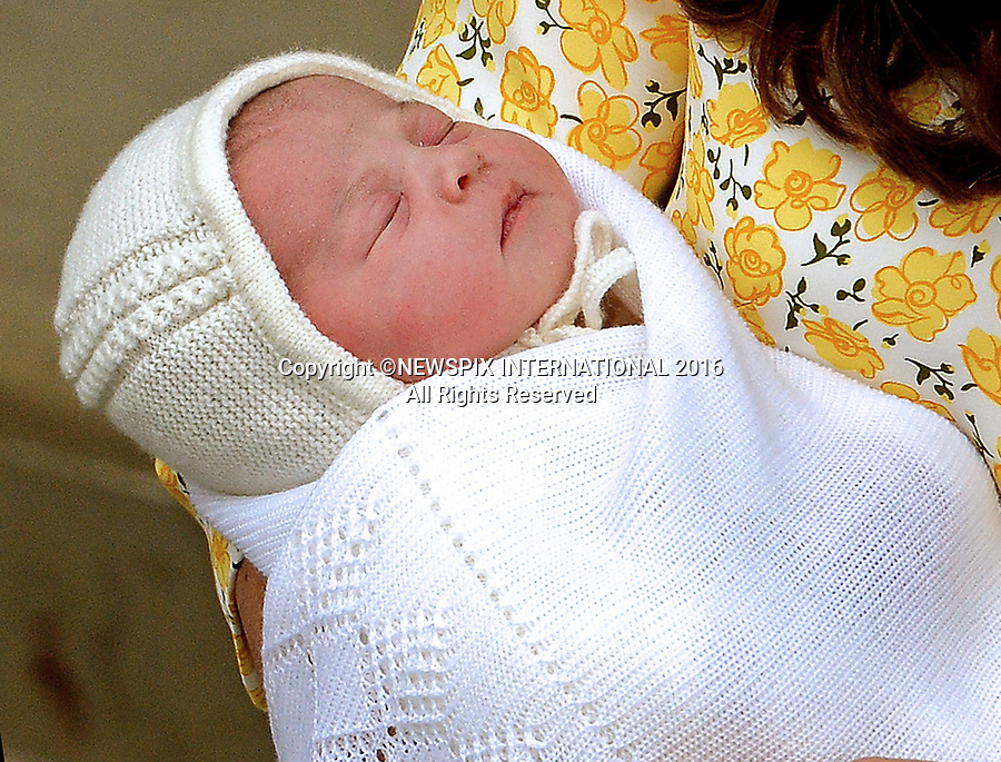 PRINCESS CHARLOTTE<br /> The daughter of the Duke and Duchess of Cambridge will be 2-years-old on the 2nd of May 2017.<br /> These images are a retrospective from birth to the present, showing the Princess on the rare public appearances.<br /> <br /> 02.05.2015, London; UK: BIRTH OF NEW PRINCESS - DUKE AND DUCHESS OF CAMBRIDGE<br /> with their new born daughter, St.Mary's Hospital Paddington<br /> The Princess was born at 8.34 am and weighed 8lbs 3oz.<br /> MANDATORY PHOTO CREDIT: &copy;NEWSPIX INTERNATIONAL<br /> <br /> IMMEDIATE CONFIRMATION OF USAGE REQUIRED:<br /> Newspix International, 31 Chinnery Hill, Bishop's Stortford, ENGLAND CM23 3PS<br /> Tel:+441279 324672  ; Fax: +441279656877<br /> Mobile:  07775681153<br /> e-mail: info@newspixinternational.co.uk<br /> Usage Implies Acceptance of Our Terms &amp; Conditions<br /> Please refer to usage terms. All Fees Payable To Newspix International