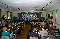 PUTNEY, LONDON, ENGLAND, 06.03.2006, Both crew sit during there introduction as the 2006 boat race crew. 2006 Presidents Challenge and Boat Race Crew announcement, held at the Winchester Club, Putney. [Oxford left]  © Peter Spurrier/Intersport-images.com..CUBC, Bow Luke Walton, No. 2 Tom Edwards, No.3 Sebastian Thormann, No 4. Thorsten Englemann, No.5 Sebastian Schulte, No.6 Kieran West, No.7 Tom James, stroke Kip McDaniel and cox Peter Rudge...OUBC, Bow Robin Esjmond-Frey, No.2 Colin Smith, No.3 Jake Wetzel, No.4 Paul Daniels, No.5 James Schroeder. No.6 Barney Williams, No. 7 Tom Parker, stroke Bastien Ripoll, and cox Nick Brodie,..[Mandatory Credit Peter Spurrier/ Intersport Images] Varsity:Boat Race