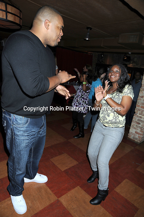 Sean Ringgold and Shenell Edmonds dancing at the Shenell Edmonds Fan Club Dance Party  on October 10, 2010 at HB Burger in New York City.