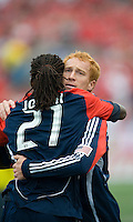 23 May 09: New England Revolution midfielder/defender Jeff Larentowicz #13 and New England Revolution midfielder Shalrie Joseph celebrate a goal during a game between the New England Revolution and Toronto FC.Toronto FC won 3-1.