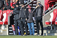 Dan Micciche (Manager)  of MK Dons looks on shielding his eyes from the sun during the Sky Bet League 1 match between Fleetwood Town and MK Dons at Highbury Stadium, Fleetwood, England on 24 February 2018. Photo by David Horn / PRiME Media Images