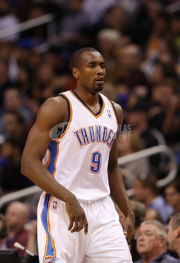 Feb. 10, 2013; Phoenix, AZ, USA: Oklahoma City Thunder power forward Serge Ibaka against the Phoenix Suns at the US Airways Center. Mandatory Credit: Mark J. Rebilas-