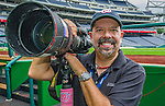 9 June 2013: Photographer Ed Wolfstein poses for a self-portrait prior to a game between the Minnesota Twins and the Washington Nationals at Nationals Park in Washington, DC. The Nationals shut out the Twins 7-0 in the first game of their day/night double-header. Mandatory Credit: Ed Wolfstein Photo *** RAW (NEF) Image File Available ***