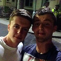Pictured: Trystan Roberts (R), image found in open social media page<br /> Re: Off-duty firefighters fought to save a fire service apprentice after a two-vehicle crash in Snowdonia, an inquest has heard.<br /> Trystan Rhun Roberts, 19, died on the A5 at Capel Curig on 17 May, 2016.<br /> Mr Roberts, from Cynwyd, near Corwen, Denbighshire, was an apprentice fleet technician with the North Wales Fire and Rescue Service.<br /> Assistant coroner Nicola Jones recorded a conclusion of death as a result of a road traffic collision.<br /> Mountaineering guide Robert Spencer told the inquest in Ruthin how Mr Roberts' Seat Leon overtook him at around 60mph as he drove along the A5 near the Siabod Cafe.