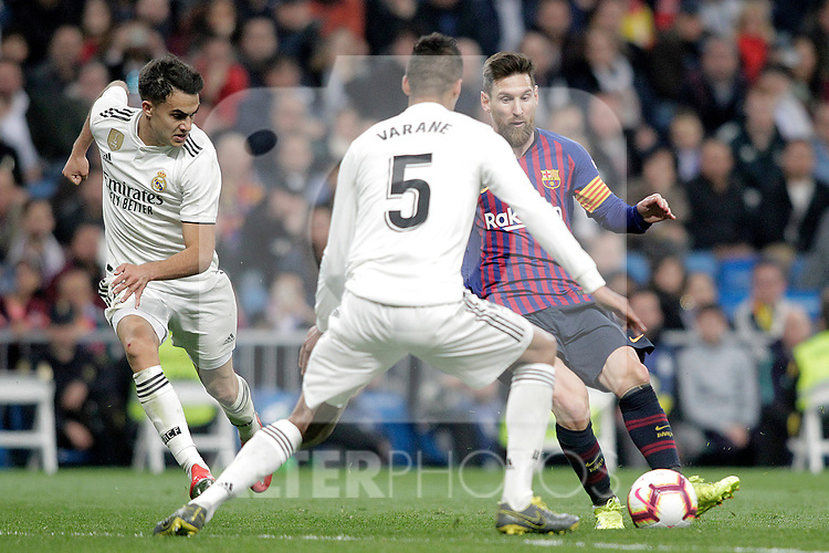 Real Madrid CF's Sergio Reguilon, Raphael Varane  and FC Barcelona's Leo Messi during La Liga match. March 02,2019. (ALTERPHOTOS/Alconada)