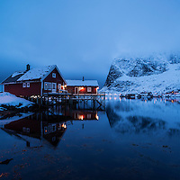 Traditional Rorbu cabin reflects in fjord in evening light, Valen, Reine, Moskenesøy, Lofoten Islands, Norway