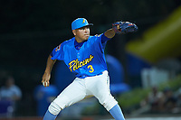 Myrtle Beach Pelicans relief pitcher Jesus Camargo (3) in action against the Winston-Salem Dash at TicketReturn.com Field on May 16, 2019 in Myrtle Beach, South Carolina. The Dash defeated the Pelicans 6-0. (Brian Westerholt/Four Seam Images)