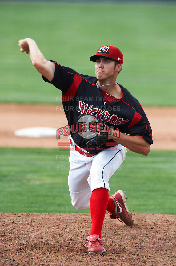 Batavia Muckdogs pitcher Chris Thomas #38 during a NY-Penn League game against the Williamsport Crosscutters at Dwyer Stadium on August 26, 2012 in Batavia, New York.  Batavia defeated Williamsport 7-1.  (Mike Janes/Four Seam Images)