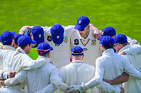 The Volts huddle before the start of play during day two of the Plunket Shield cricket match between the Wellington Firebirds and Otago Volts at the Basin Reserve in Wellington, New Zealand on Tuesday, 22 October 2019. Photo: Dave Lintott / lintottphoto.co.nz