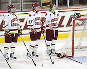 Ashley Motherwell (BC - 18), Danielle Welch (BC - 17), Kelli Stack (BC - 16) - The Boston College Eagles and the visiting University of New Hampshire Wildcats played to a scoreless tie in BC's senior game on Saturday, February 19, 2011, at Conte Forum in Chestnut Hill, Massachusetts.
