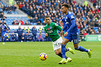 (L-R) Anthony Knockaert of Brighton closely follows Josh Murphy of Cardiff City during the Premier League match between Cardiff City and Brighton & Hove Albion at the Cardiff City Stadium, Cardiff, Wales, UK. Saturday 10 November 2018