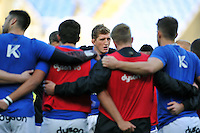 Stuart Hooper of Bath Rugby speaks to his team during the pre-match warm-up. Aviva Premiership match, between London Irish and Bath Rugby on November 7, 2015 at the Madejski Stadium in Reading, England. Photo by: Patrick Khachfe / Onside Images