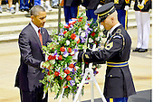 United States President Barack Obama lays a wreath with assistance by Sergeant 1st Class Tanner Welch, Sergeant of the Guard, Tomb of the Unknown Soldier, 3rd U.S. Infantry Regiment (The Old Guard), during the Memorial Day Wreath-Laying ceremony at the Tomb of the Unknown Soldier, Arlington National Cemetery, Virginia, May 27, 2013. .Mandatory Credit: Jose A. Torres Jr. / U.S. Army via CNP