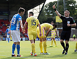 St Johnstone v Hearts…17.09.16.. McDiarmid Park  SPFL<br />Referee John Beaton books Graham Cummins for diving<br />Picture by Graeme Hart.<br />Copyright Perthshire Picture Agency<br />Tel: 01738 623350  Mobile: 07990 594431