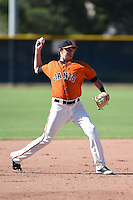 San Francisco Giants third baseman Ryder Jones (28) during an Instructional League game against the Oakland Athletics on October 13, 2014 at Giants Baseball Complex in Scottsdale, Arizona.  (Mike Janes/Four Seam Images)