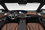 Stock photo of straight dashboard view of 2019 Mercedes Benz S-Class - 4 Door Sedan Dashboard